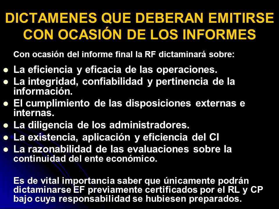 Con ocasión del informe final la RF dictaminará sobre: La eficiencia y eficacia de las operaciones.