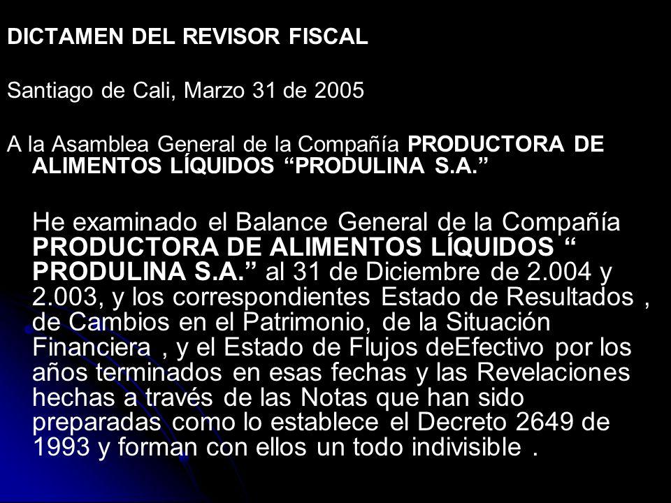 DICTAMEN DEL REVISOR FISCAL Santiago de Cali, Marzo 31 de 2005 A la Asamblea General de la Compañía PRODUCTORA DE ALIMENTOS LÍQUIDOS PRODULINA S.A.