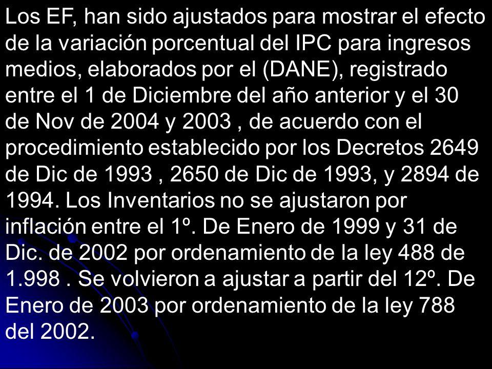 Los EF, han sido ajustados para mostrar el efecto de la variación porcentual del IPC para ingresos medios, elaborados por el (DANE), registrado entre el 1 de Diciembre del año anterior y el 30 de Nov de 2004 y 2003, de acuerdo con el procedimiento establecido por los Decretos 2649 de Dic de 1993, 2650 de Dic de 1993, y 2894 de 1994.