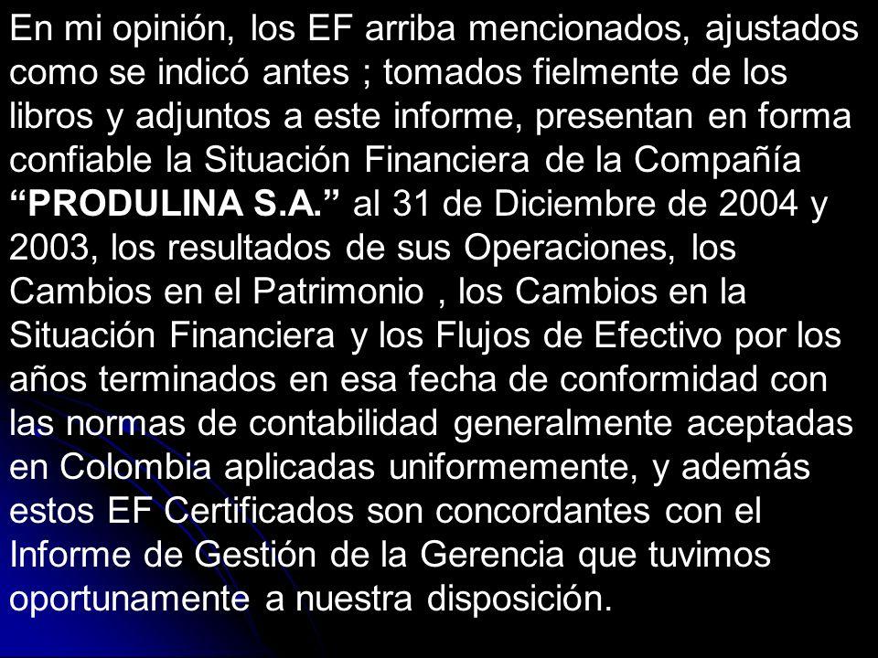 En mi opinión, los EF arriba mencionados, ajustados como se indicó antes ; tomados fielmente de los libros y adjuntos a este informe, presentan en forma confiable la Situación Financiera de la Compañía PRODULINA S.A.