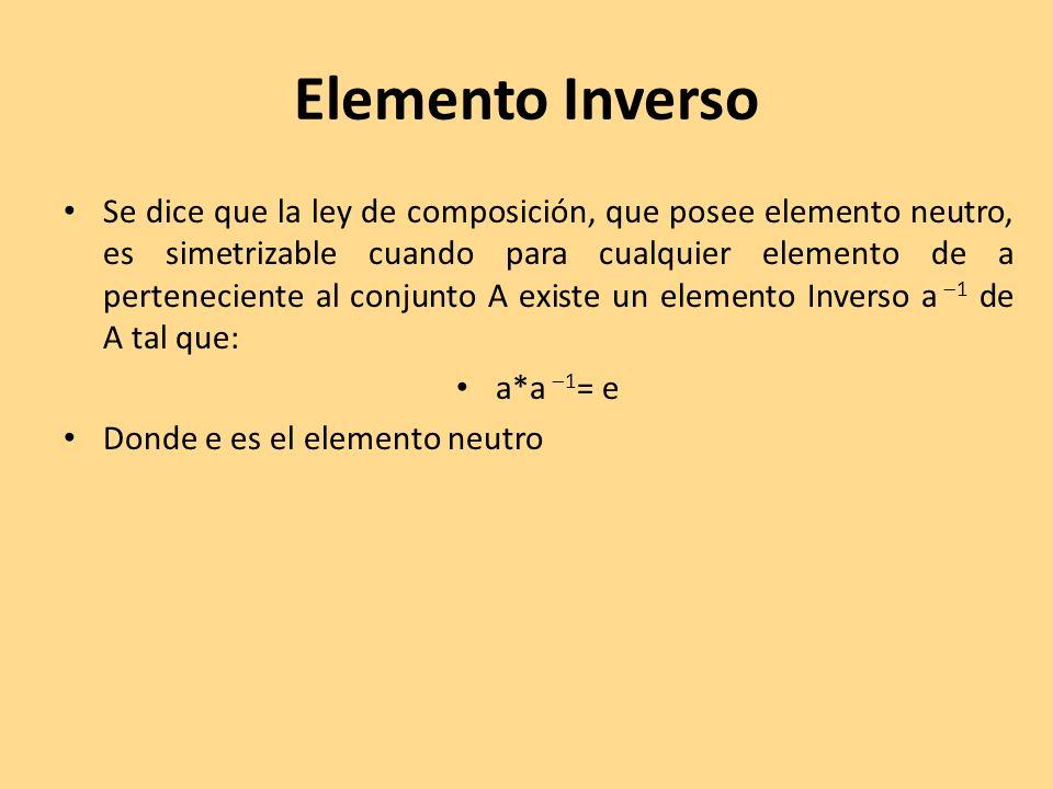Elemento Inverso Se dice que la ley de composición, que posee elemento neutro, es simetrizable cuando para cualquier elemento de a perteneciente al co