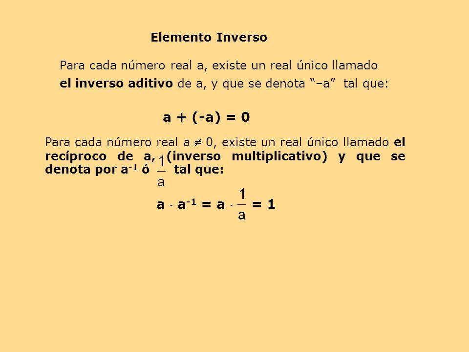 Para cada número real a, existe un real único llamado el inverso aditivo de a, y que se denota –a tal que: a + (-a) = 0 Para cada número real a 0, exi