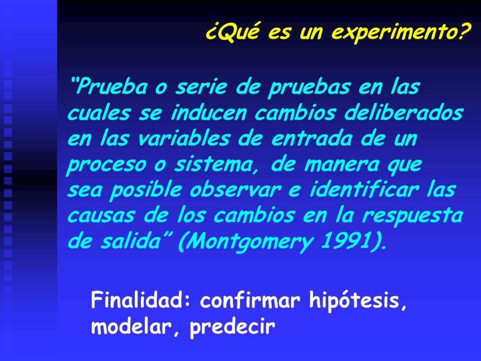 Unidades experimentales homogéneas, es decir sin estructura Diseño Completamente al Azar Unidades experimentales heterogéneas, es decir que presentan variabilidad sistemática natural o inducida Diseño en Bloques