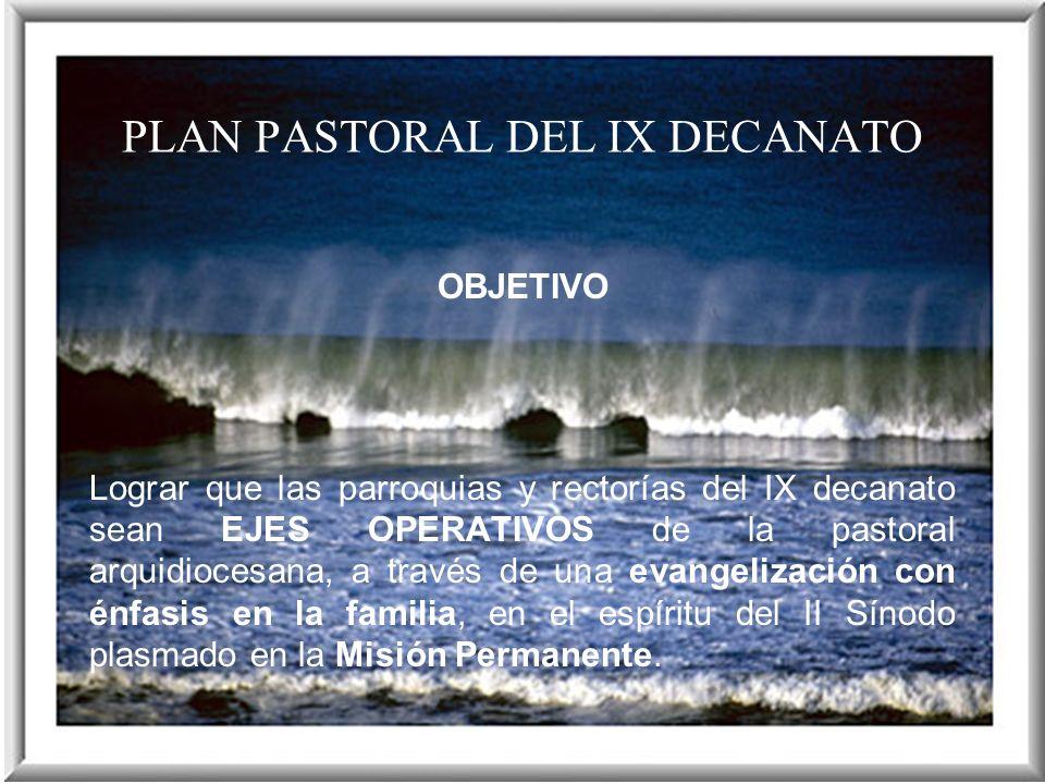 PLAN PASTORAL DEL IX DECANATO OBJETIVO Lograr que las parroquias y rectorías del IX decanato sean EJES OPERATIVOS de la pastoral arquidiocesana, a tra