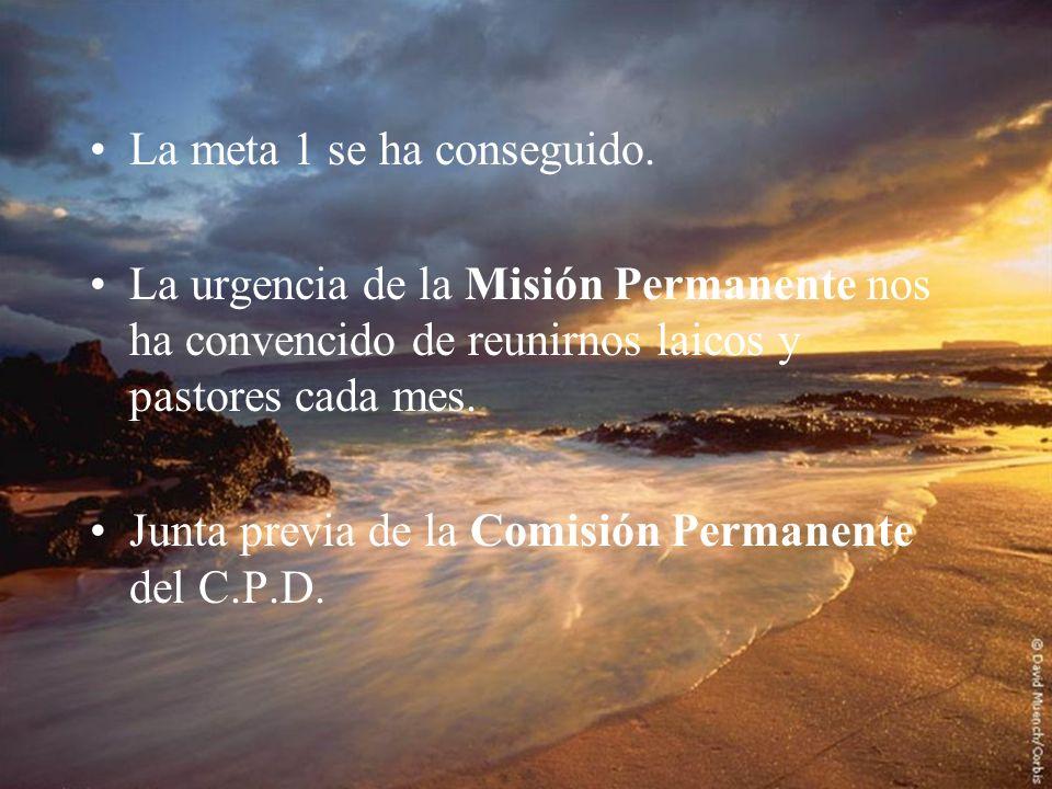 La meta 1 se ha conseguido. La urgencia de la Misión Permanente nos ha convencido de reunirnos laicos y pastores cada mes. Junta previa de la Comisión