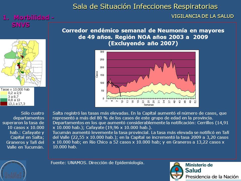 Corredor endémico semanal de Neumonía en mayores de 49 años. Región NOA años 2003 a 2009 (Excluyendo año 2007) Fuente: UNAMOS. Dirección de Epidemiolo
