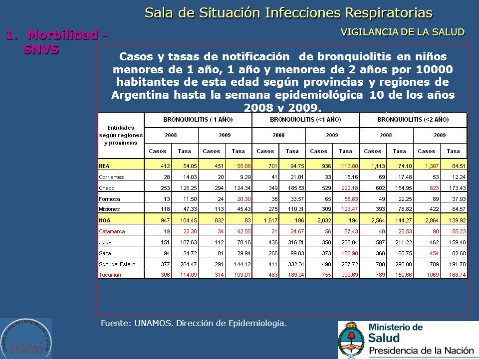 Casos y tasas de notificación de bronquiolitis en niños menores de 1 año, 1 año y menores de 2 años por 10000 habitantes de esta edad según provincias