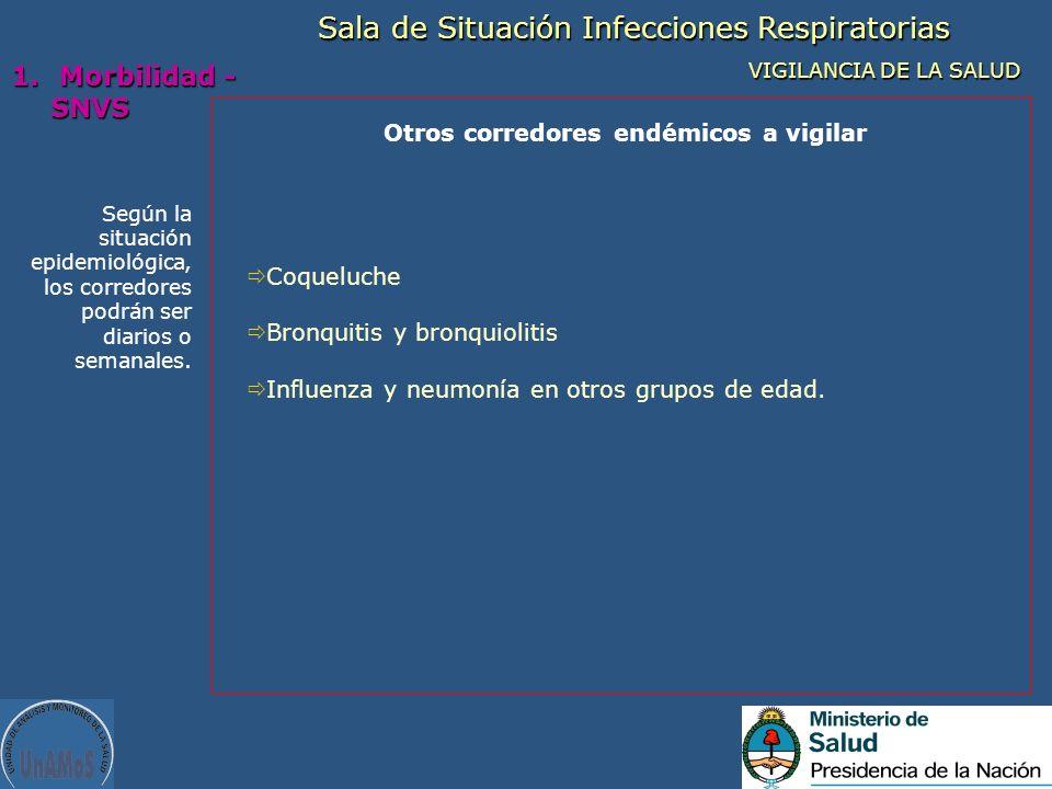 Según la situación epidemiológica, los corredores podrán ser diarios o semanales. Otros corredores endémicos a vigilar Sala de Situación Infecciones R