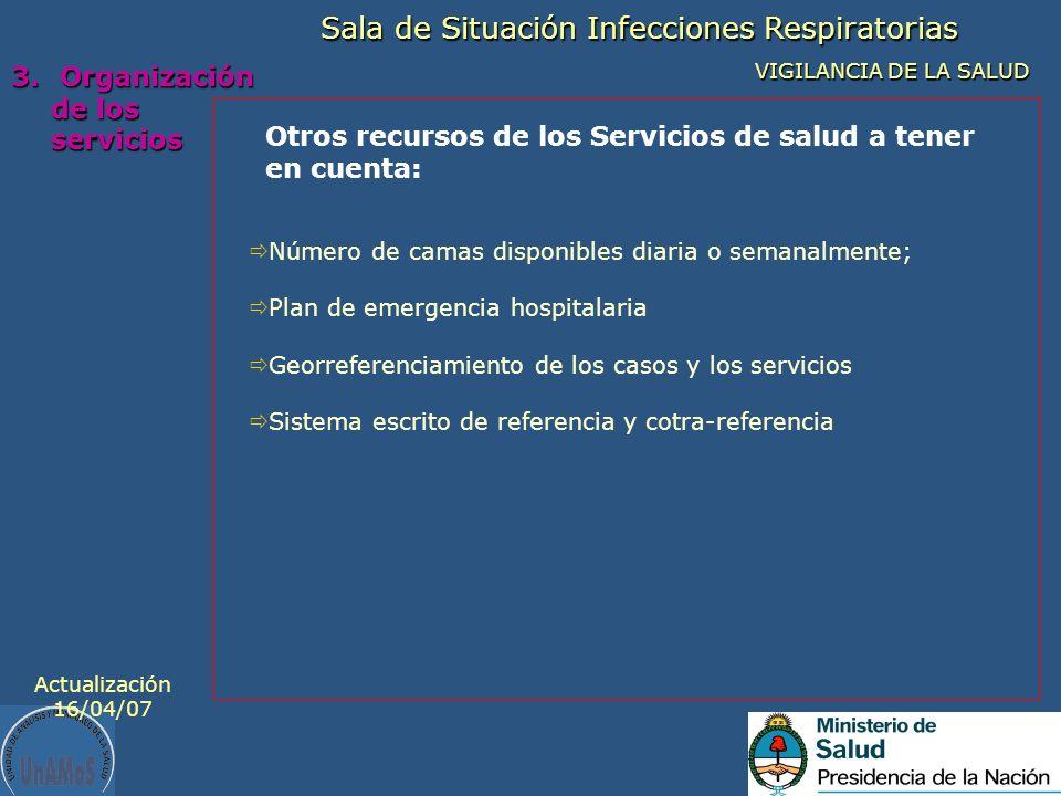 Otros recursos de los Servicios de salud a tener en cuenta: Sala de Situación Infecciones Respiratorias VIGILANCIA DE LA SALUD 3. Organización de los