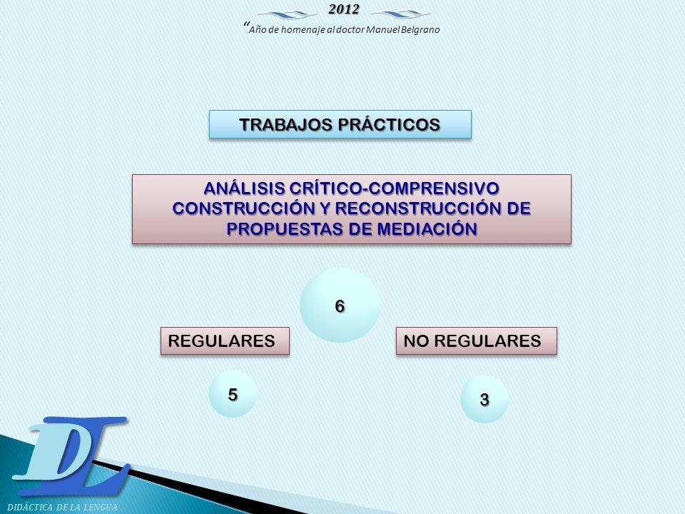 2012 Año de homenaje al doctor Manuel Belgrano LD DIDÁCTICA DE LA LENGUA ANÁLISIS CRÍTICO-COMPRENSIVO CONSTRUCCIÓN Y RECONSTRUCCIÓN DE PROPUESTAS DE M