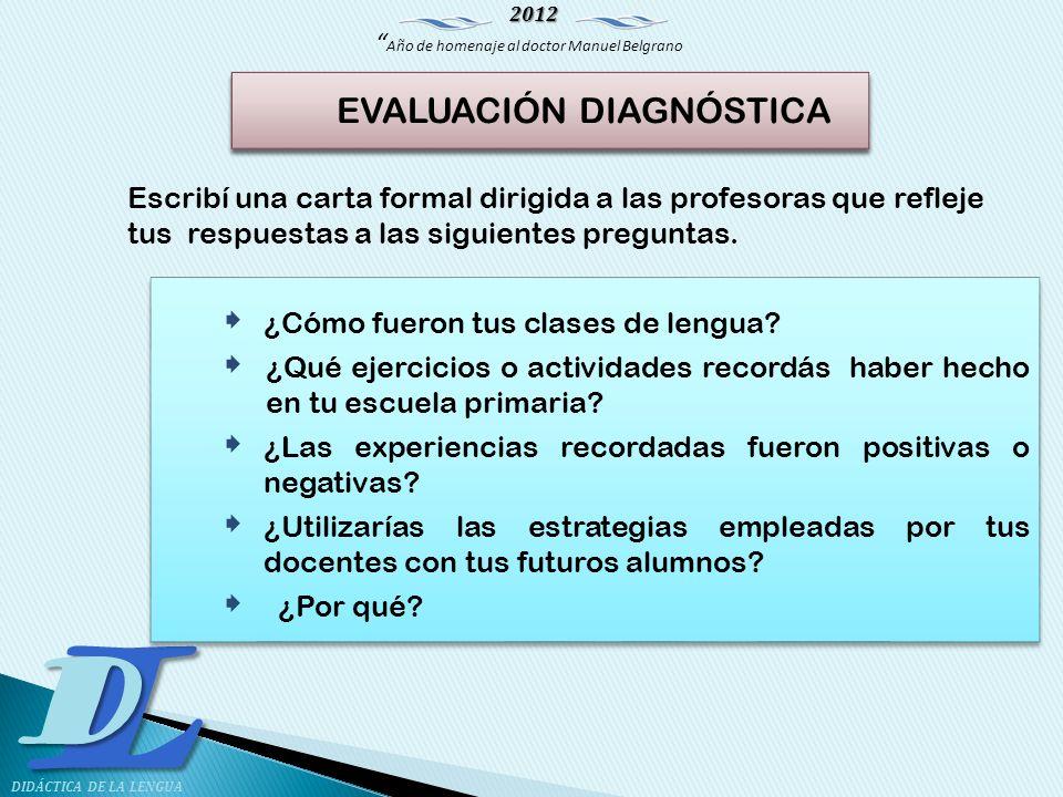 2012 Año de homenaje al doctor Manuel Belgrano LD DIDÁCTICA DE LA LENGUA Escribí una carta formal dirigida a las profesoras que refleje tus respuestas