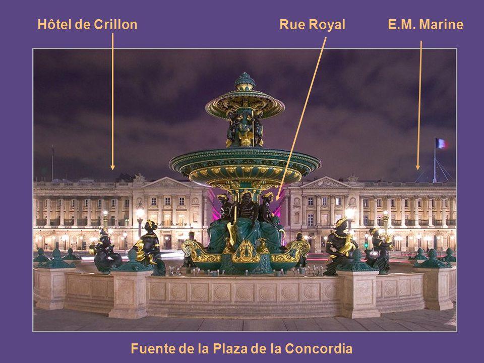 Fuente de la Plaza de la Concordia Buen ejemplo del clasicismo es la place de la Concorde, diseñada por Gabriel en 1757.