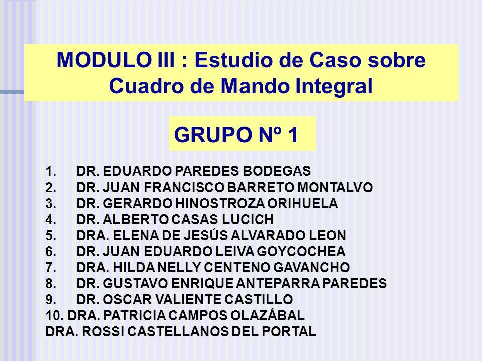 GRUPO Nº 1 1. DR. EDUARDO PAREDES BODEGAS 2. DR. JUAN FRANCISCO BARRETO MONTALVO 3. DR. GERARDO HINOSTROZA ORIHUELA 4. DR. ALBERTO CASAS LUCICH 5. DRA