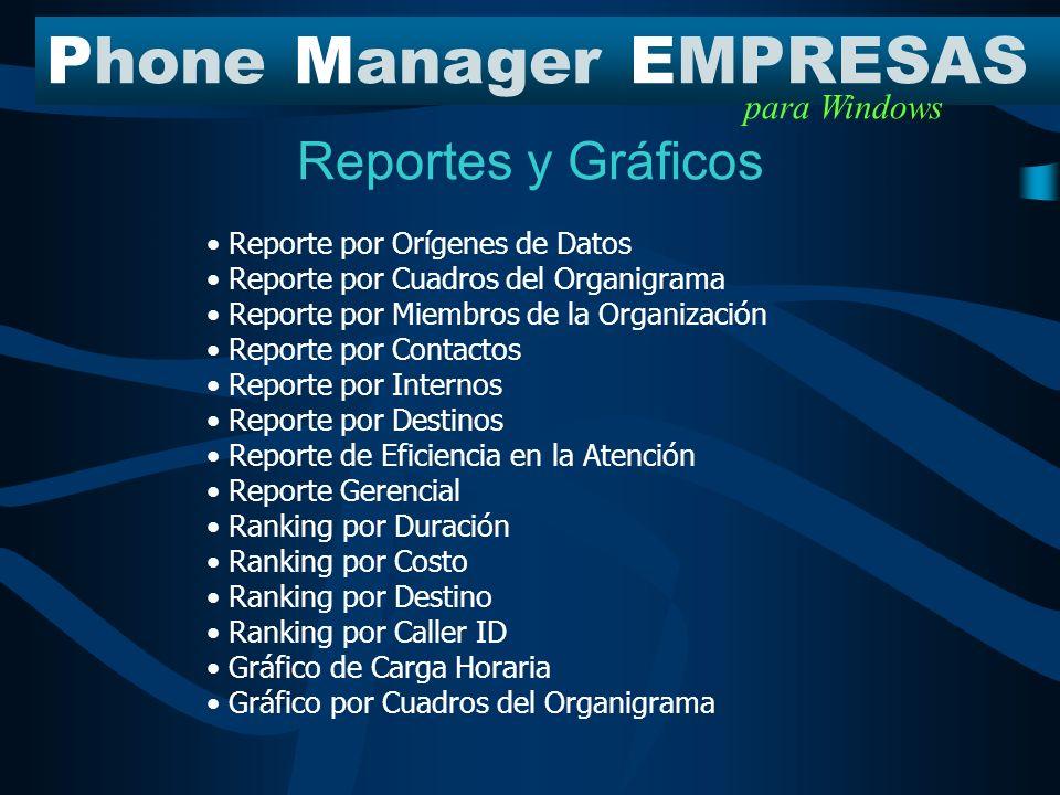 PhoneManagerEMPRESAS para Windows Diferenciadores Report Direct La Generación y distribución automática de los reportes y de la información, permite a