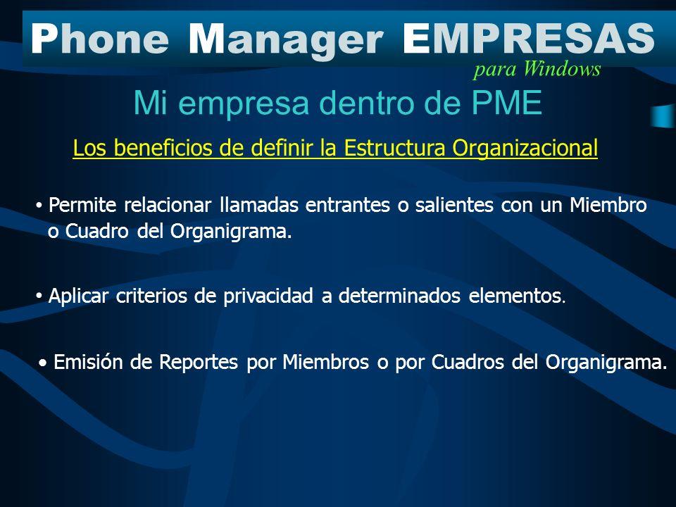 Mi empresa dentro de PME PhoneManagerEMPRESAS para Windows Cuadros del Organigrama Miembros de la Organización Estructura Organizacional Estructura en