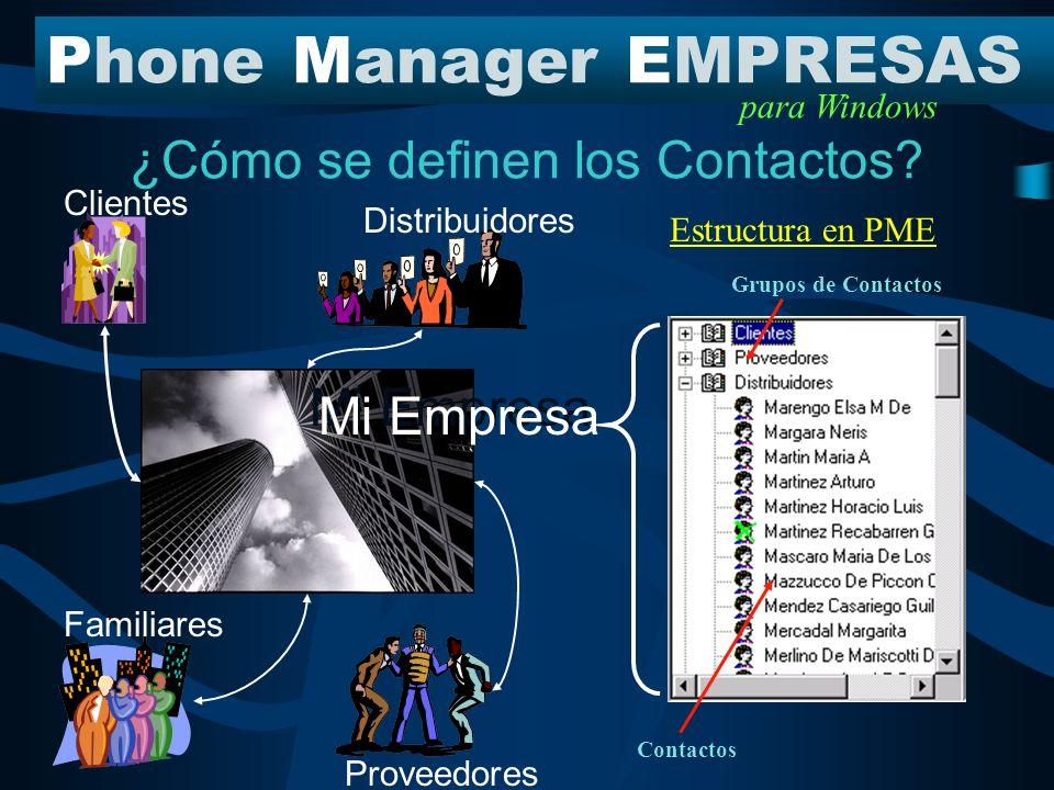 Mi empresa dentro de PME PhoneManagerEMPRESAS para Windows Los beneficios de definir la Estructura Organizacional Permite relacionar llamadas entrantes o salientes con un Miembro o Cuadro del Organigrama.