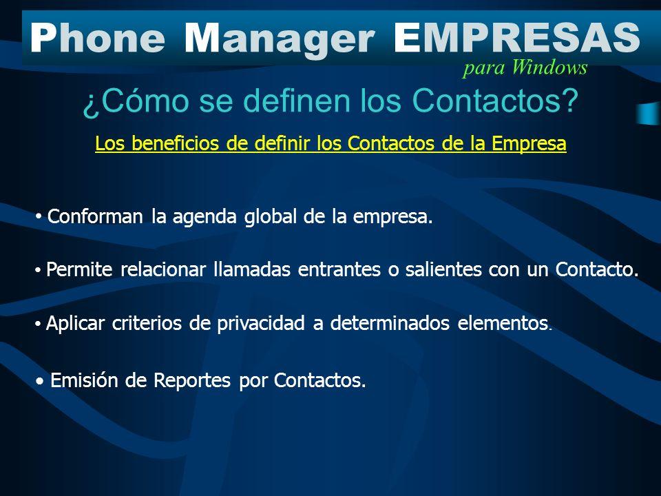 ¿Cómo se definen los Contactos? PhoneManagerEMPRESAS para Windows Clientes Distribuidores Proveedores Familiares Mi Empresa Estructura en PME Grupos d