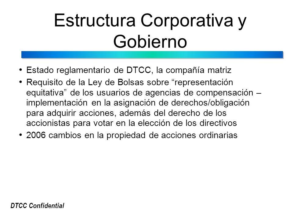 DTCC Confidential Estructura Corporativa y Gobierno Estado reglamentario de DTCC, la compañía matriz Requisito de la Ley de Bolsas sobre representación equitativa de los usuarios de agencias de compensación – implementación en la asignación de derechos/obligación para adquirir acciones, además del derecho de los accionistas para votar en la elección de los directivos 2006 cambios en la propiedad de acciones ordinarias