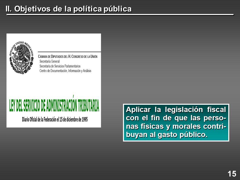 II. Objetivos de la política pública 15 Aplicar la legislación fiscal con el fin de que las perso- nas físicas y morales contri- buyan al gasto públic