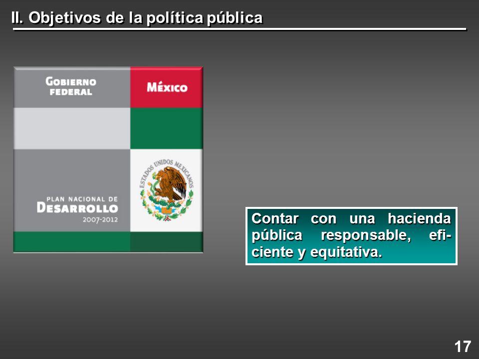 II. Objetivos de la política pública 17 Contar con una hacienda pública responsable, efi- ciente y equitativa.