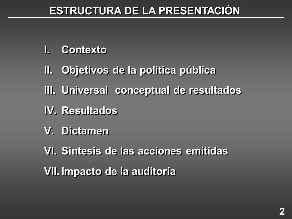 ESTRUCTURA DE LA PRESENTACIÓN I.Contexto II.Objetivos de la política pública III.Universal conceptual de resultados IV.Resultados V.Dictamen VI.Síntes
