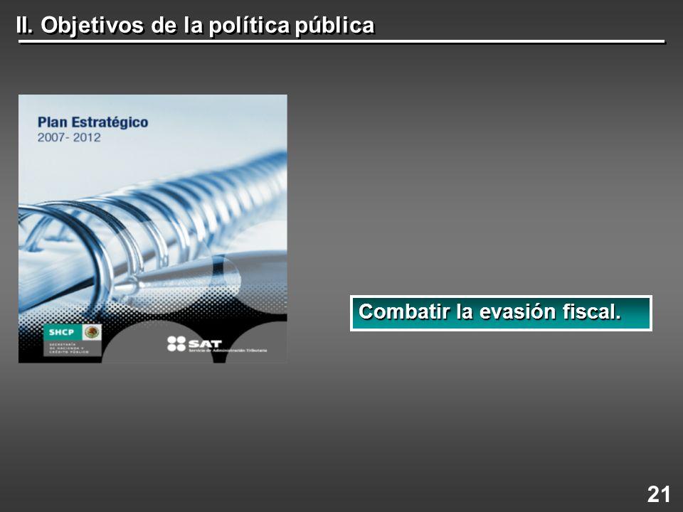 II. Objetivos de la política pública 21 Combatir la evasión fiscal.