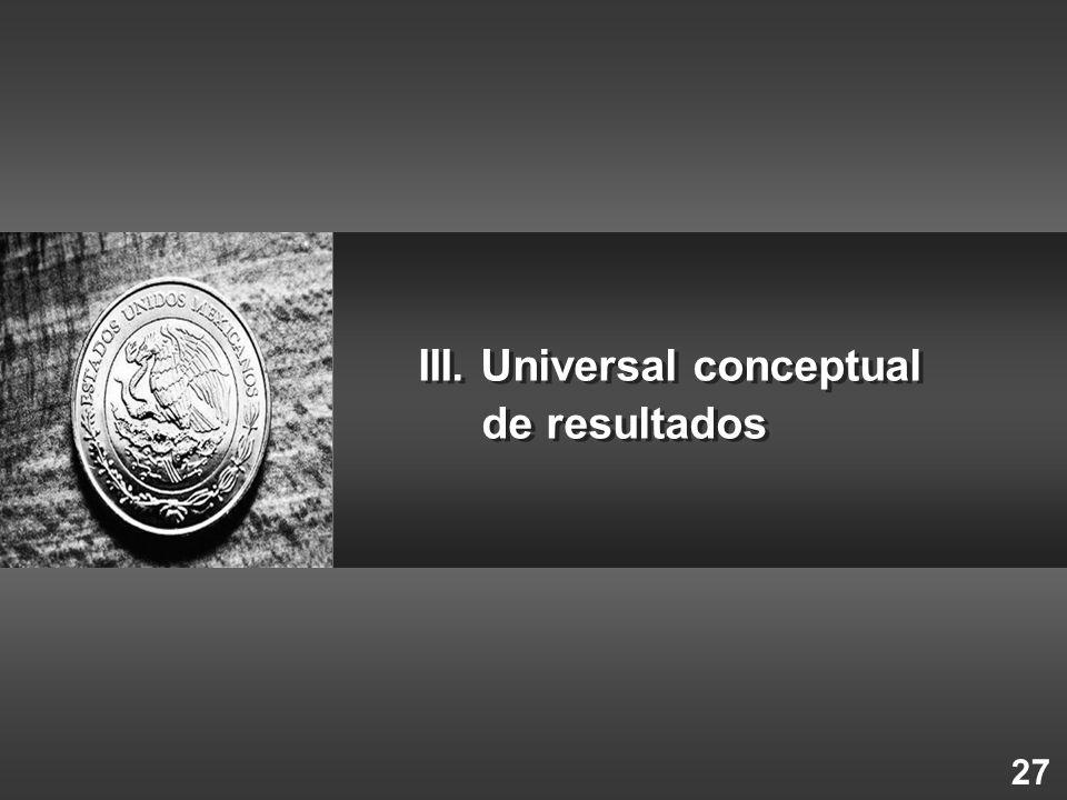 27 III. Universal conceptual de resultados