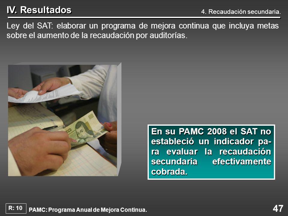 47 IV. Resultados Ley del SAT: elaborar un programa de mejora continua que incluya metas sobre el aumento de la recaudación por auditorías. Ensu PAMC