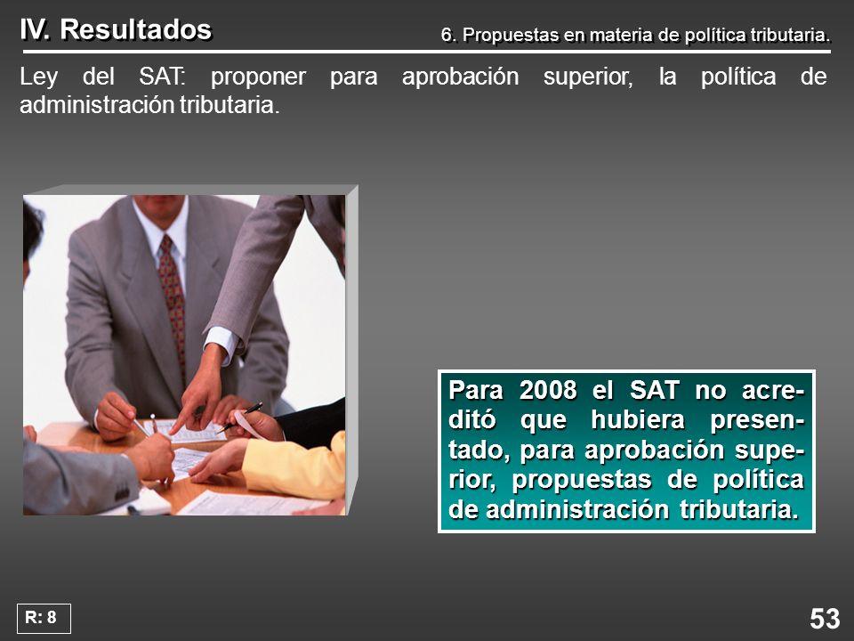 53 IV. Resultados 6. Propuestas en materia de política tributaria. Ley del SAT: proponer para aprobación superior, la política de administración tribu