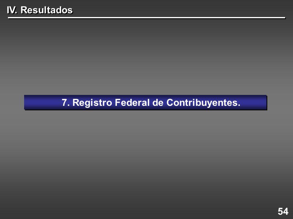 54 7. Registro Federal de Contribuyentes. IV. Resultados