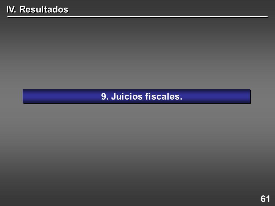 61 9. Juicios fiscales. IV. Resultados