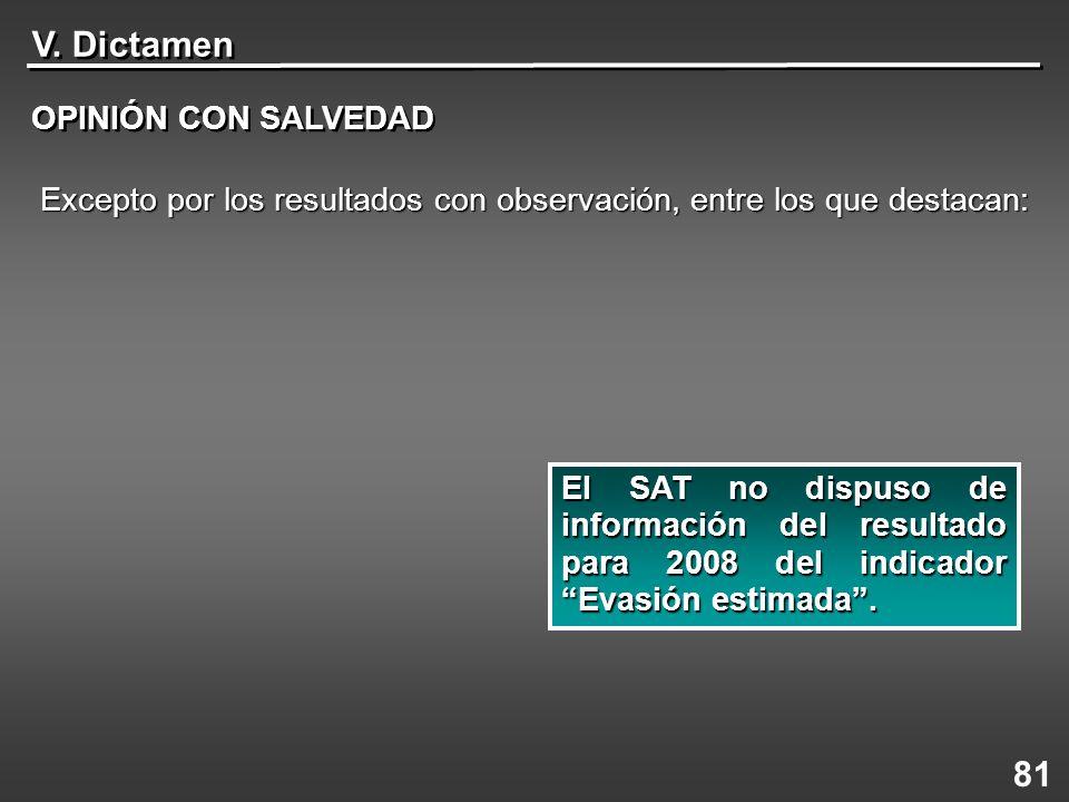 V. Dictamen OPINIÓN CON SALVEDAD 81 El SAT no dispuso de información del resultado para 2008 del indicador Evasión estimada. Excepto por los resultado