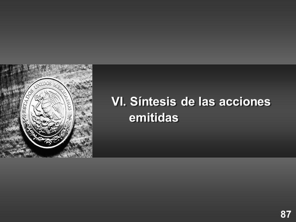 87 VI. Síntesis de las acciones emitidas