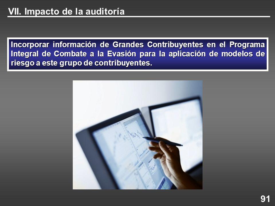VII. Impacto de la auditoría Incorporar información de Grandes Contribuyentes en el Programa Integral de Combate a la Evasión para la aplicación de mo