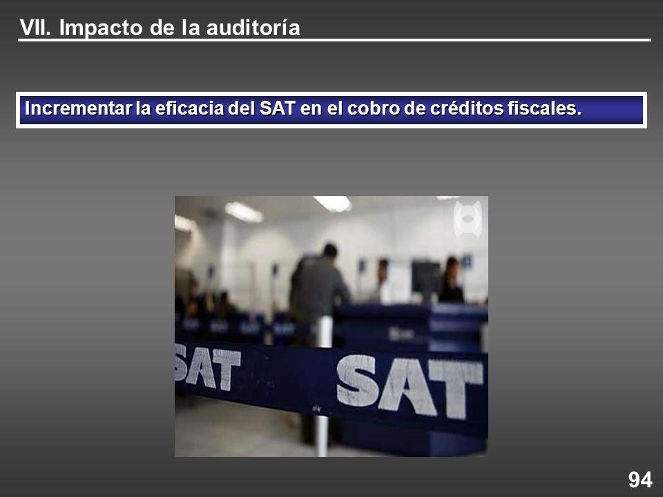 Incrementar la eficacia del SAT en el cobro de créditos fiscales. VII. Impacto de la auditoría 94