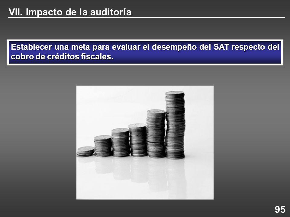 VII. Impacto de la auditoría Establecer una meta para evaluar el desempeño del SAT respecto del cobro de créditos fiscales. 95