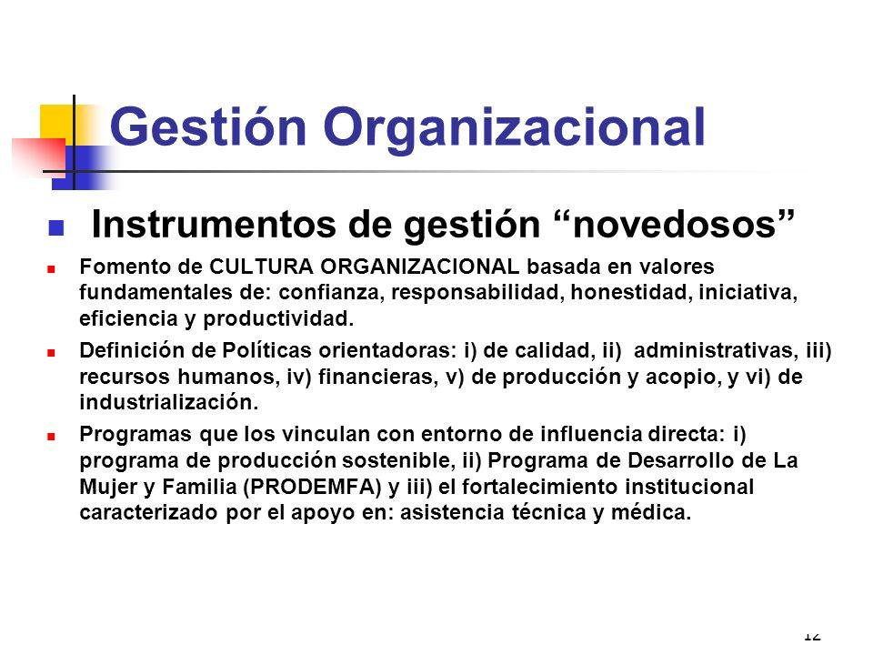 12 Gestión Organizacional Instrumentos de gestión novedosos Fomento de CULTURA ORGANIZACIONAL basada en valores fundamentales de: confianza, responsab
