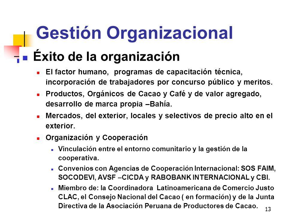 13 Gestión Organizacional Éxito de la organización El factor humano, programas de capacitación técnica, incorporación de trabajadores por concurso púb