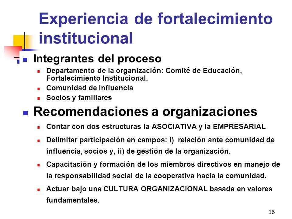 16 Experiencia de fortalecimiento institucional Integrantes del proceso Departamento de la organización: Comité de Educación, Fortalecimiento Instituc