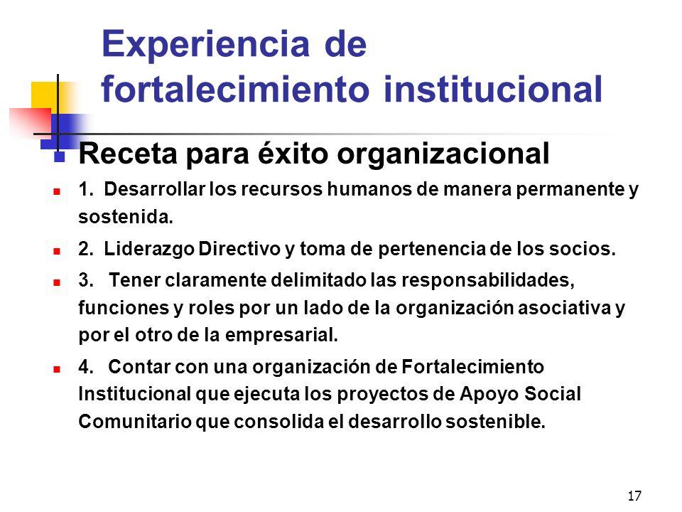 17 Experiencia de fortalecimiento institucional Receta para éxito organizacional 1. Desarrollar los recursos humanos de manera permanente y sostenida.
