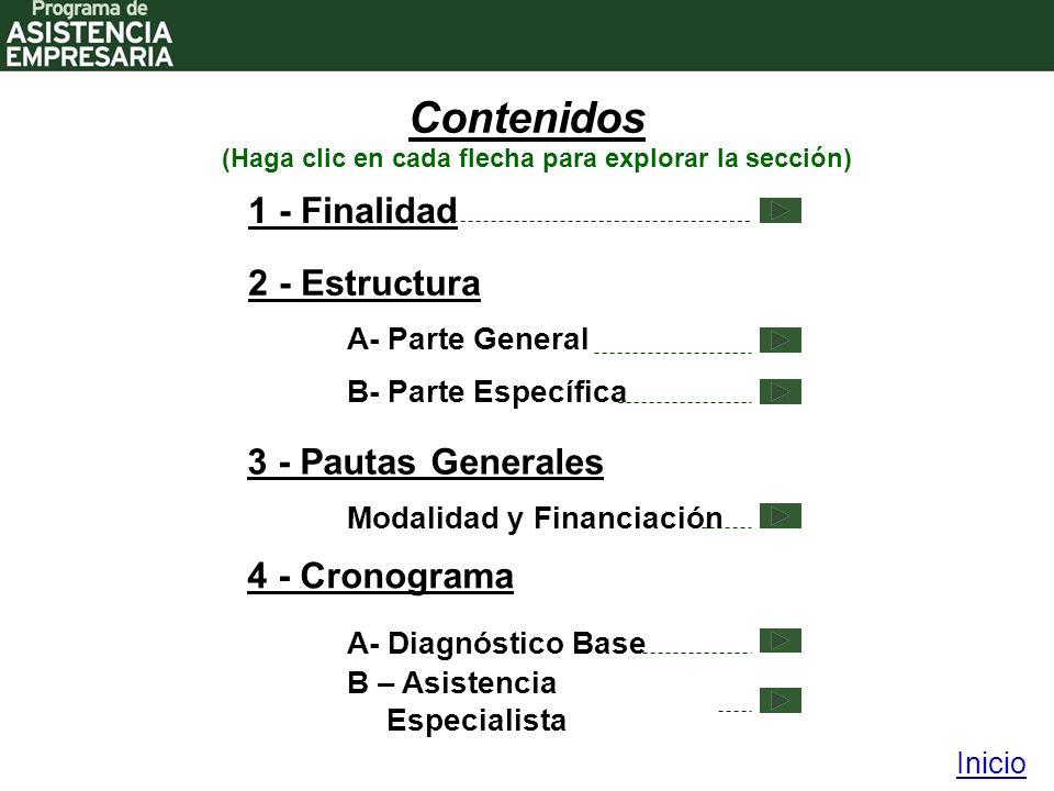 Contenidos 2 - Estructura 4 - Cronograma Inicio (Haga clic en cada flecha para explorar la sección) 1 - Finalidad A- Parte General 3 - Pautas Generales B- Parte Específica A- Diagnóstico Base B – Asistencia Especialista Modalidad y Financiación