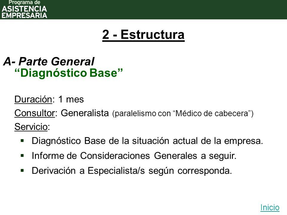 2 - Estructura A- Parte General Duración: 1 mes Consultor: Generalista (paralelismo con Médico de cabecera) Servicio: Diagnóstico Base de la situación actual de la empresa.