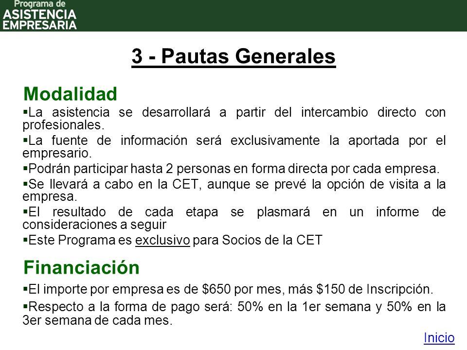 3 - Pautas Generales Modalidad La asistencia se desarrollará a partir del intercambio directo con profesionales.