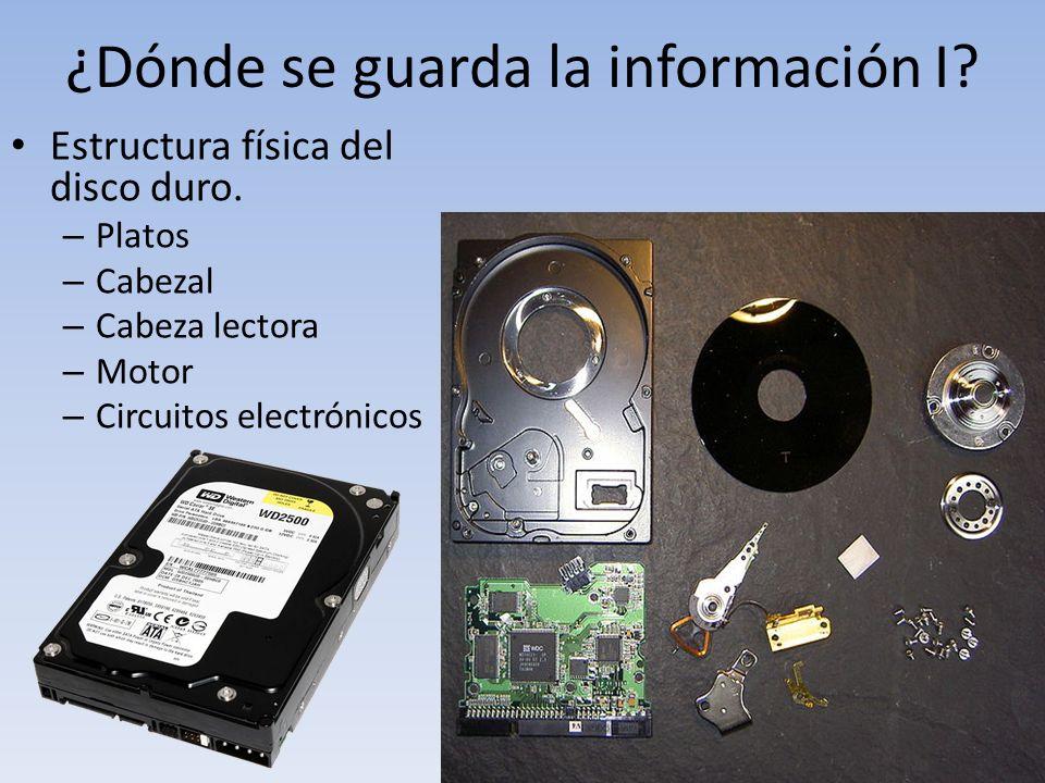 ¿Dónde se guarda la información I? Estructura física del disco duro. – Platos – Cabezal – Cabeza lectora – Motor – Circuitos electrónicos