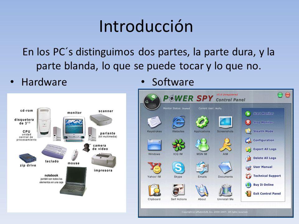 En los PC´s distinguimos dos partes, la parte dura, y la parte blanda, lo que se puede tocar y lo que no. Hardware Software Introducción