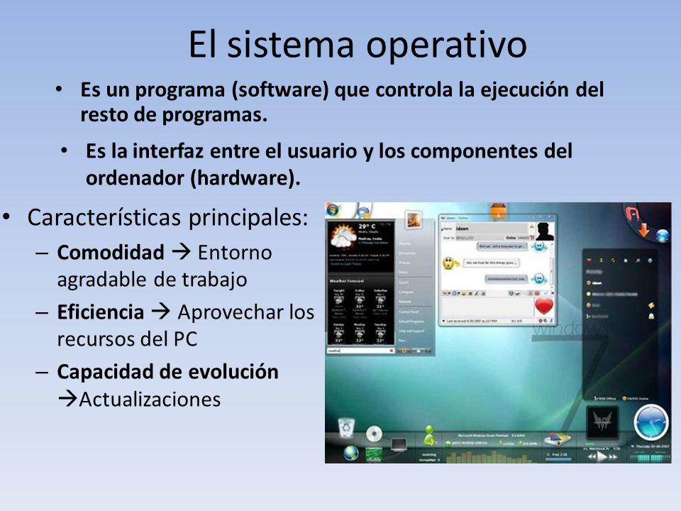 El sistema operativo Es un programa (software) que controla la ejecución del resto de programas. Características principales: – Comodidad Entorno agra