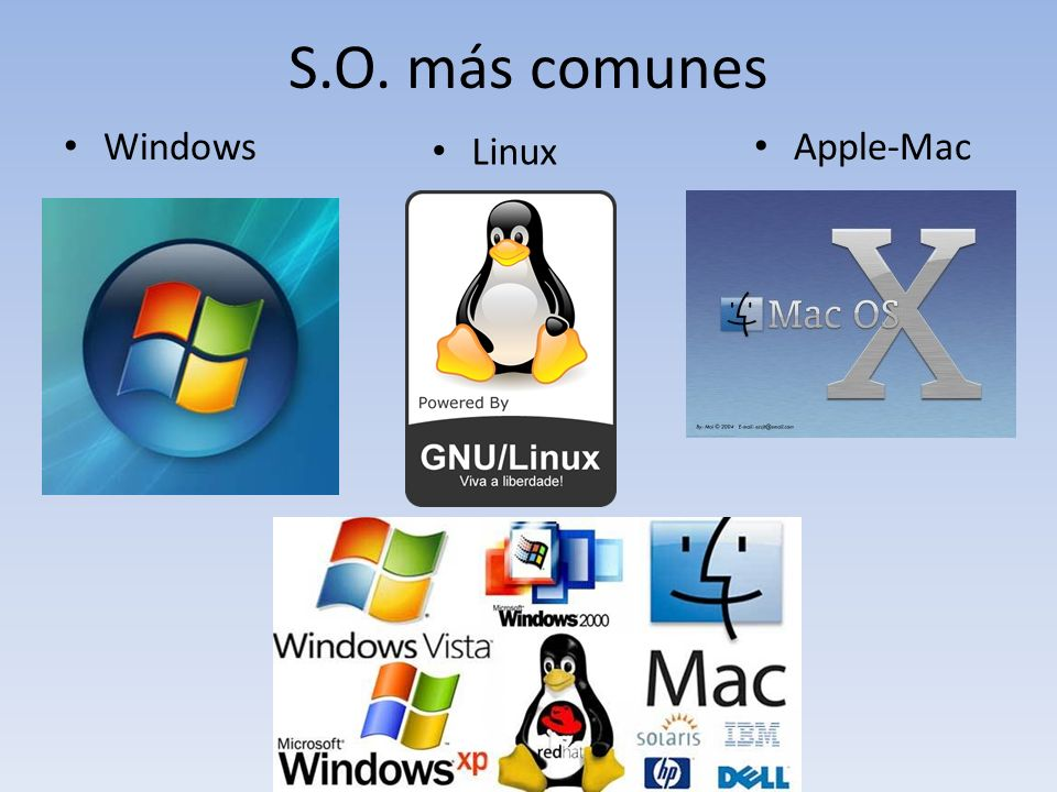 S.O. más comunes Windows Apple-Mac Linux