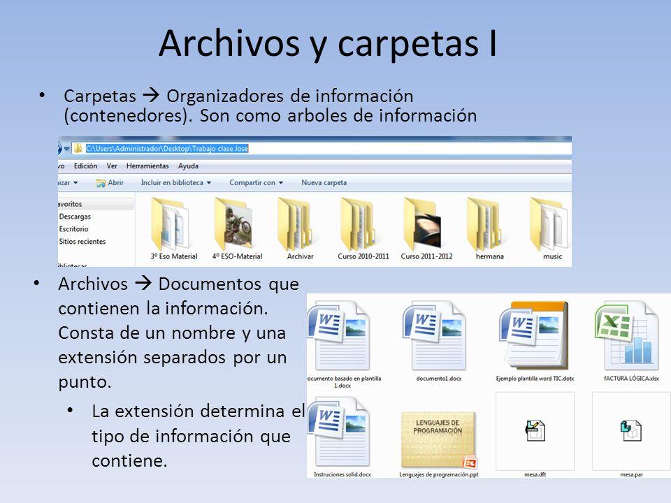 Archivos y carpetas I Carpetas Organizadores de información (contenedores). Son como arboles de información Archivos Documentos que contienen la infor