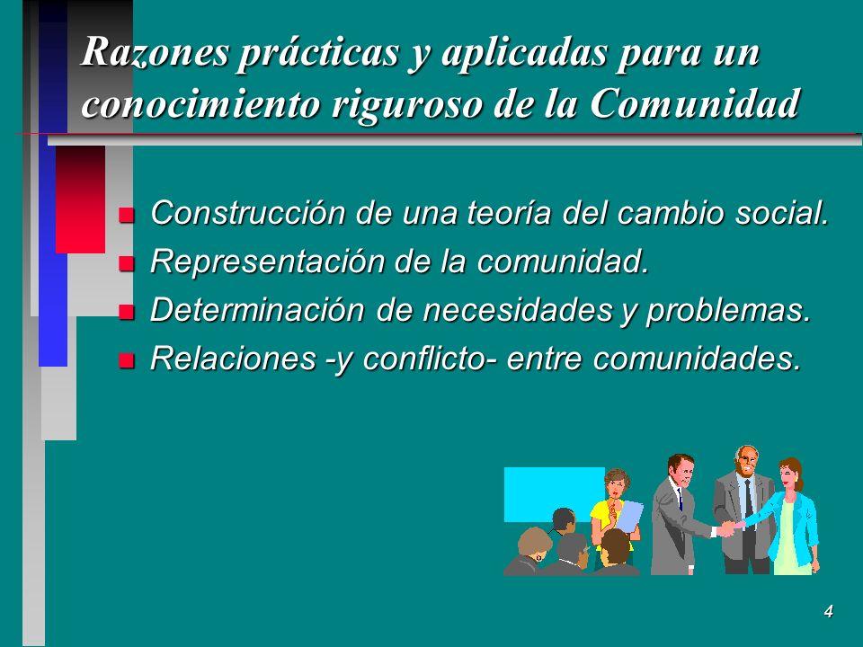 4 Razones prácticas y aplicadas para un conocimiento riguroso de la Comunidad n Construcción de una teoría del cambio social.