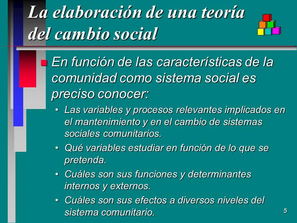 5 La elaboración de una teoría del cambio social n En función de las características de la comunidad como sistema social es preciso conocer: Las variables y procesos relevantes implicados en el mantenimiento y en el cambio de sistemas sociales comunitarios.Las variables y procesos relevantes implicados en el mantenimiento y en el cambio de sistemas sociales comunitarios.